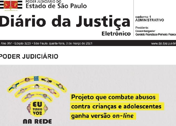 Diário da Justiça destaca Projeto Eu Tenho Voz na Rede