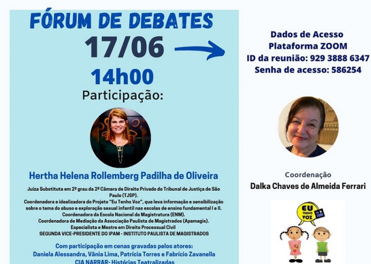Fórum de Debates sobre o Projeto Eu Tenho Voz acontecerá nesta quinta (17)
